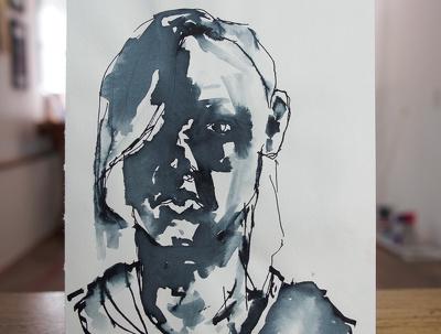 Draw an ink portrait