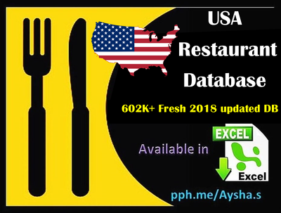 Provide USA  restaurant database 600K+ 77,000+ Emails