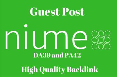Publish HQ Guest Post On Niume Da39 Dofollow Link