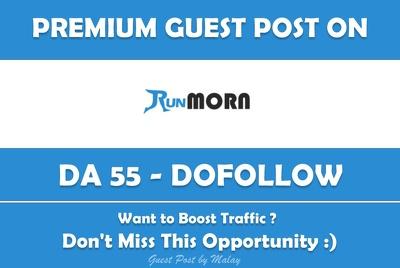Publish Guest Post on Run Morn. Runmorn.com - DA 55