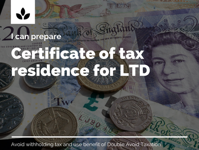 Prepare application for tax residence certificate for UK LTD