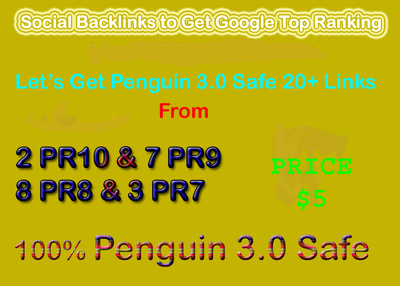 Manual Penguin Safe 28 PR9 PR8 PR7 PR6 Social Profile Backlinks