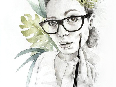 Paint your custom portrait with watercolor and pencil