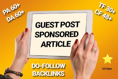 Guest post backlink article dofollow on my PA 70 DA 62 blog