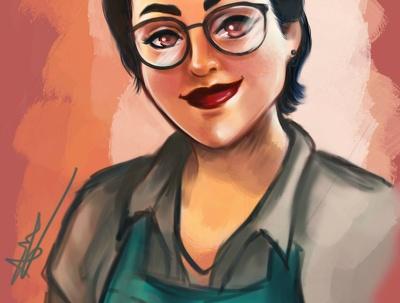 Draw a cartoon portrait