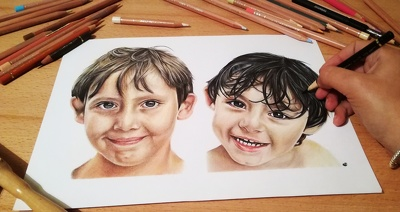 Draw a custom colour pencil realistic portrait from your photos
