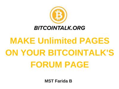 Make Your Annthread On Bitcointalk