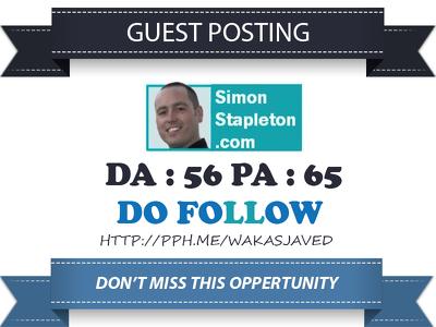 Guest Post on SimonStapleton.com DA 58 Dofollow Link