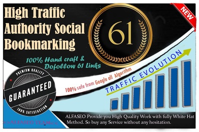 Build 61 High traffic & DA PA Social Bookmarks for your website
