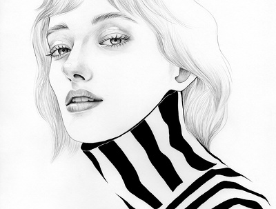 Draw graphic portrait in original fashion style