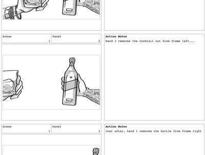 Create up to a 20-frame storyboard (b & w)