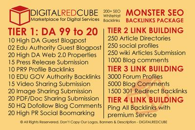 Monster Whitehat SEO Package - 200+ HQ SEO Backlinks DA[99-20]
