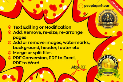 PDF Editing, PDF Conversion up to 10 pages within 10 hours