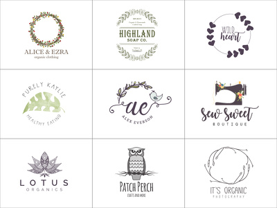 Design a custom logo design that's perfect for Etsy & blogs.