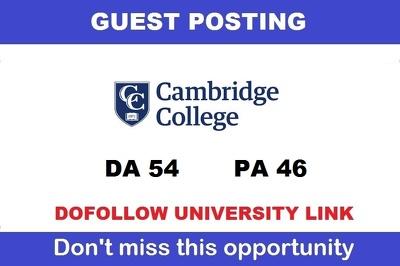 Write a DOFOLLOW Guest post on Cambridgecollege.edu -  DA54