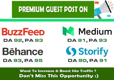 Publish guest post on Medium or WN or Behance or Storify
