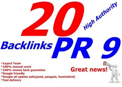 20 PR 9 backlinks Panda, Penguin and Hummingbird safe
