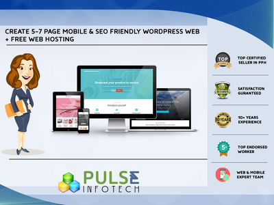 5-7 page mobile friendly WordPress Web + FREE WEB HOSTING