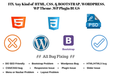 Fix Any Html Css Bootstrap And Wordpress Bug Or Issue