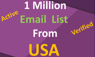 Provide 1 million active and verified email list from USA