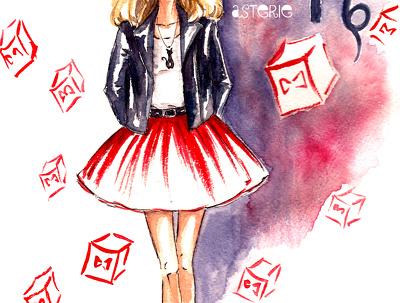 Draw a coloured fashion illustration
