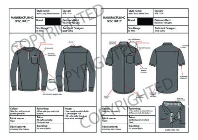Create a spec sheet technical pack per design
