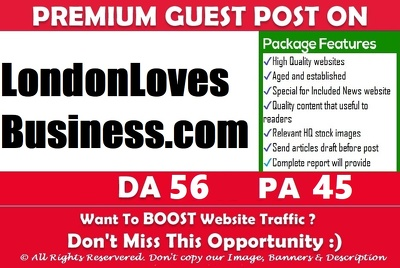 Publish a guest post on LondonLovesBusiness.com - DA55, PA62