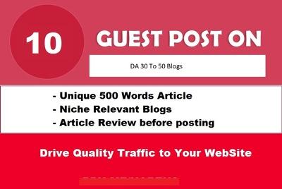10 Unique Guest Posts Links on DA30-50 do-follow Websites