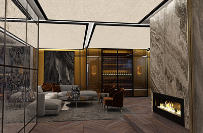 Create a highly detailed 3d interior visualization