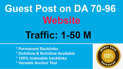 Guest Post Available on high authority DA PA [70-96] 10+ Website