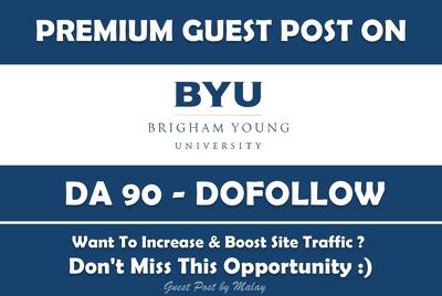 Publish a Guest Post on Brigham Young University. Byu.edu - DA90