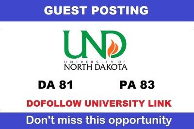 Write and Publish a guest post on UND - Und.edu DA 81