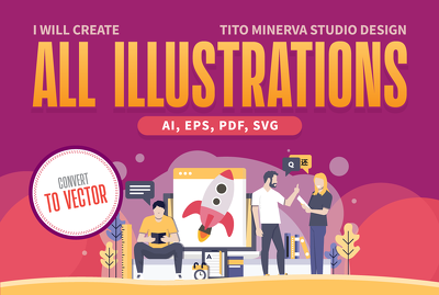 Create illustration from sketch to illustrator vector