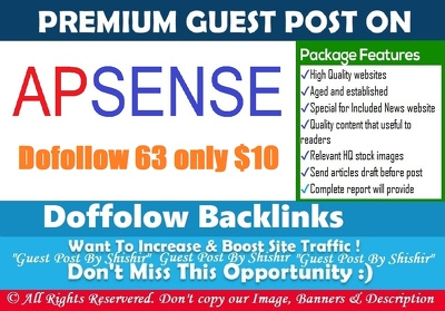 Publish a guest post on Apsense - Apsense.com - DA63, PA69