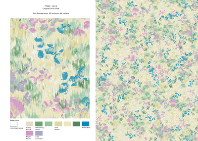 Design a seamless repeat pattern for textile printing