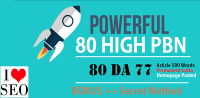 80 PowerFul High PBN Permanent Manual Post DA 77 Dofollow