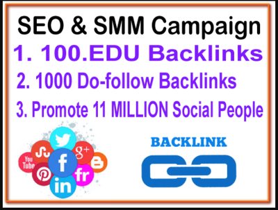 100 EDU Backlinks 1K DoFollow Backlinks - 11 M Social promotion