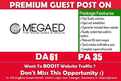Write & Publish Guest Post on Megaedd. Megaedd.com - DA62, TF40