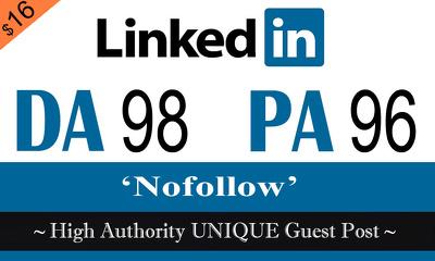 """Write and publish UNIQUE Guest Post on """"Linkedin"""" DA-98"""