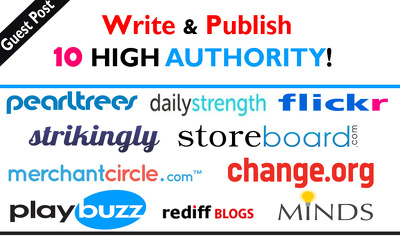 write and publish 10 high authority guest post on DA-99