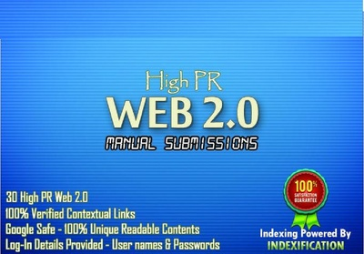Create 15 High Pr web2 blogs and 15 High PR social bookmarking