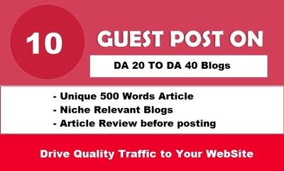 (Limited Offer) 10 Unique Guest Posts Links on DA 20-40 Websites