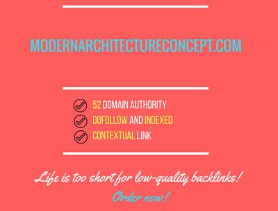 Add a guest post on modernarchitectureconcept.com, DA 52