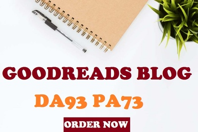 Write and post article on GoodReads DA 93 high Quality Blog