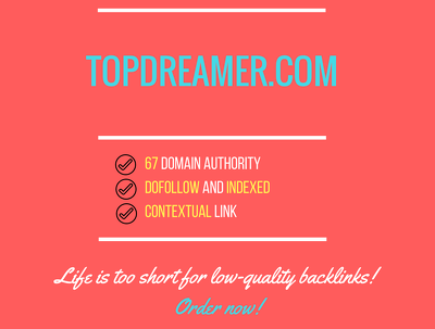 Add a guest post on topdreamer.com, DA 67