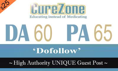 "Write and publish UNIQUE Guest Post on ""Curezone"" DA-60"