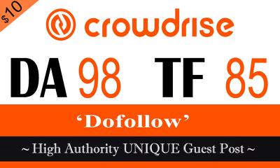 "Write & publish UNIQUE Guest Post on ""Crowdrise"" TF-85"
