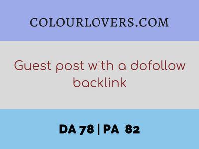 Guest post on COLOURLOVERS.COM with a dofollow backlink (DA 78)