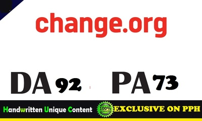 Publish a Guest post on Change.org DA92 Blog