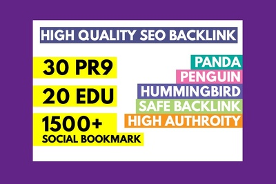 Do 30 PR9 + 20 EDU- GOV + 1500 HQ SOCIAL BOOKMARKS SEO Backlinks